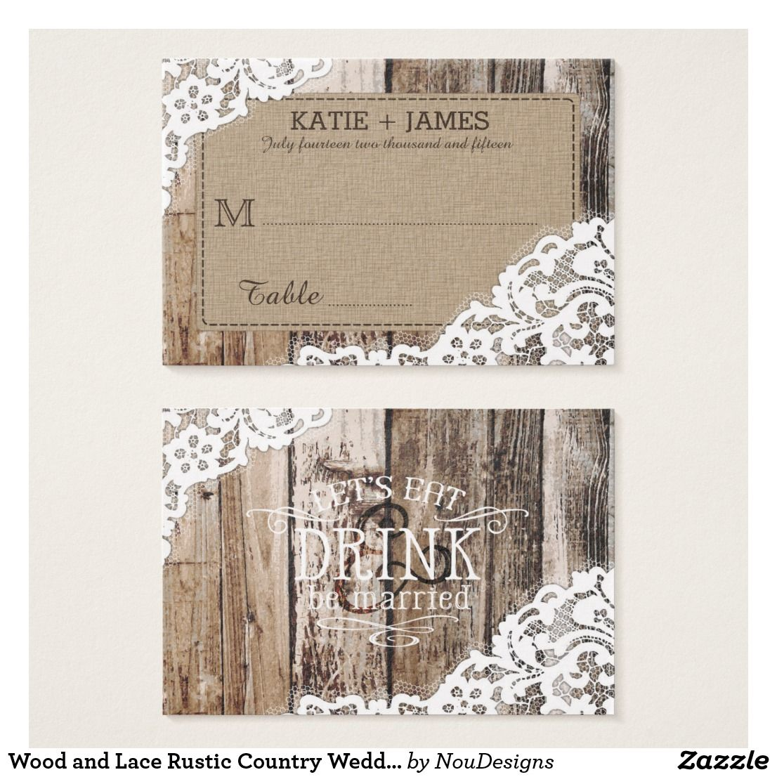 Wood and Lace Rustic Country Wedding Place Cards Aged wood and lace over linen-look background rustic place card design for a country western wedding.