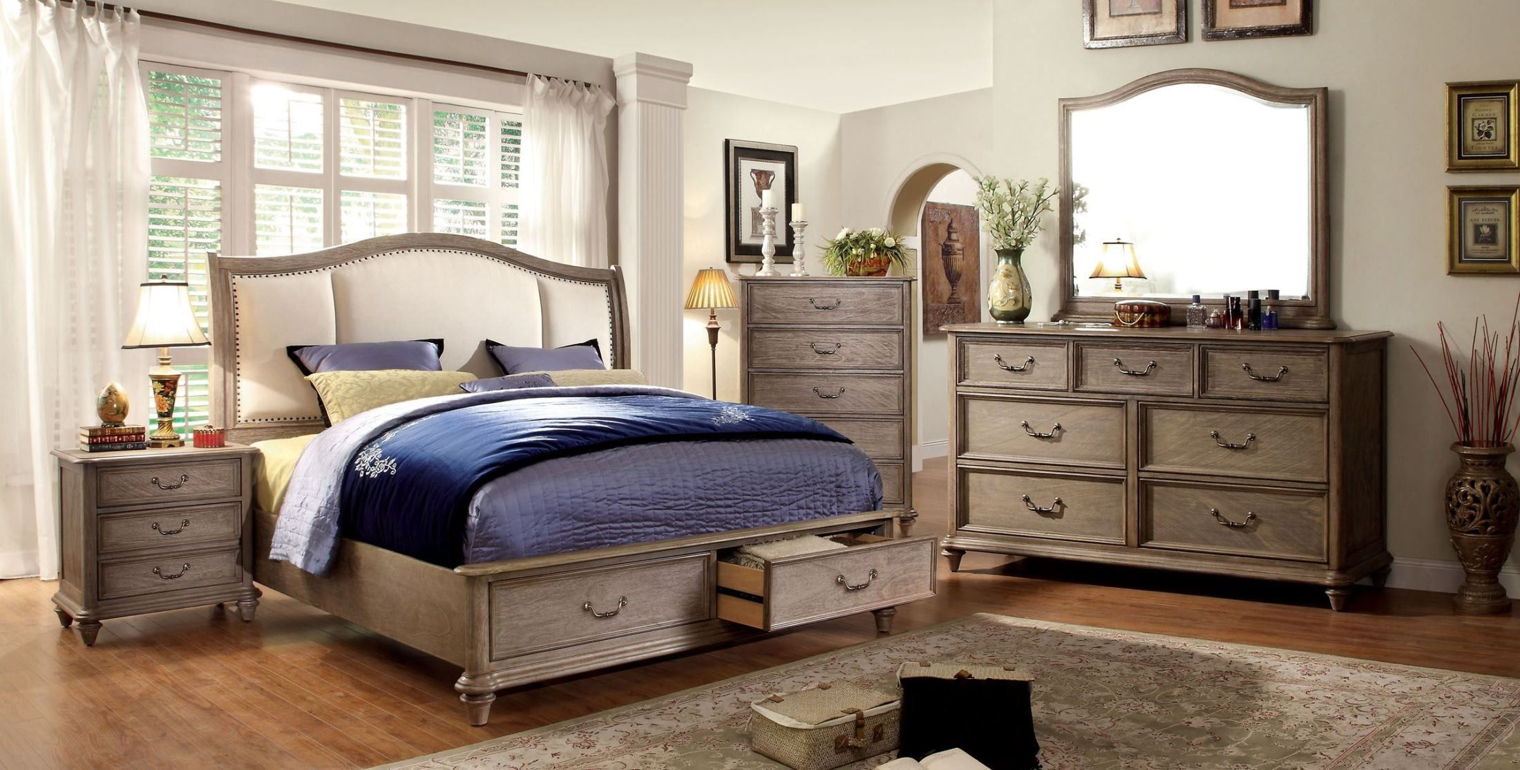 belgrade i rustic natural tone upholstered platform storage bedroom set - King Bedroom Sets Dallas