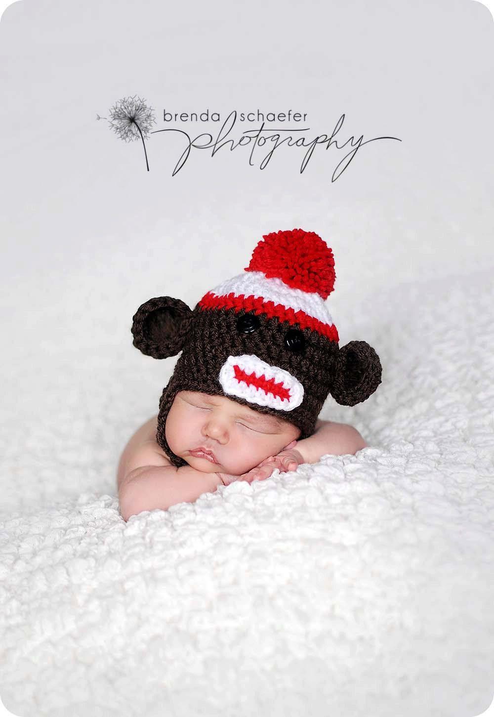 Knit Newborn Baby Boy Hat Photography Prop Photo Prop Infant Boy Crochet Knit Hat Beanie Sock Monkey Hat Ear Flap. $19.50, via Etsy.