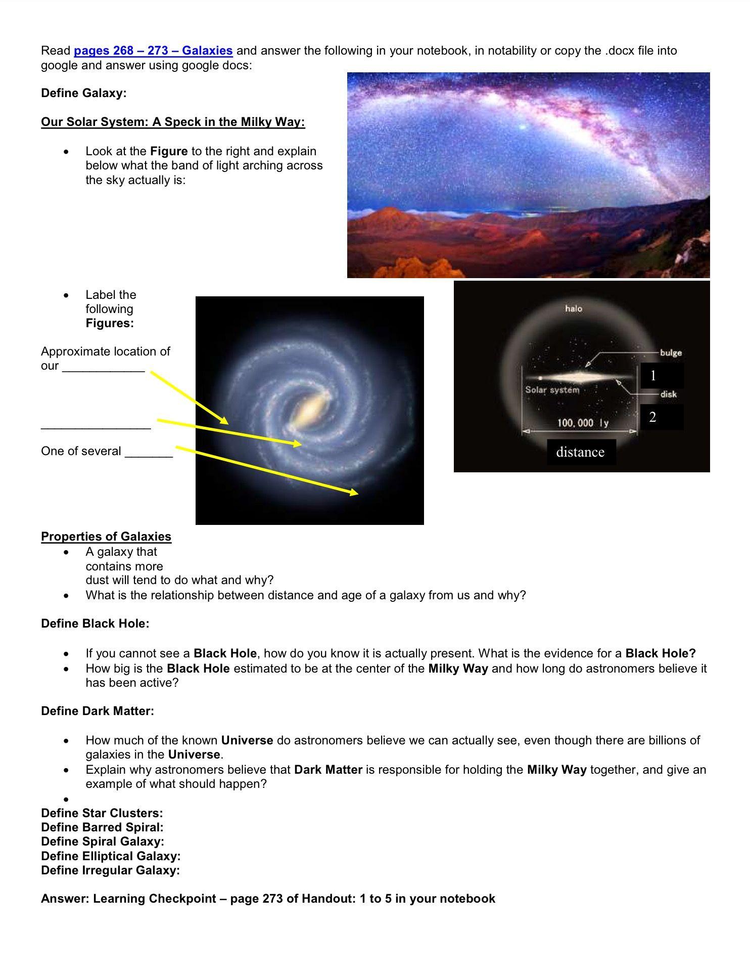 Earth In Space Worksheet