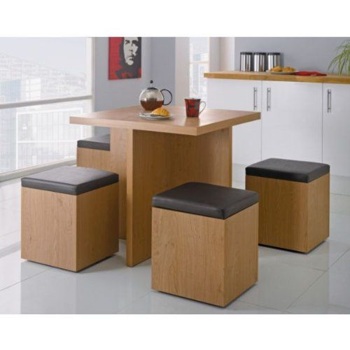 Space Saving Dining Table And Each Square Can Be A Storage Ottoman