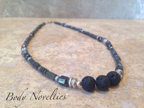 Men's hematite Diffuser  Diffuser necklace by Bodynovelties