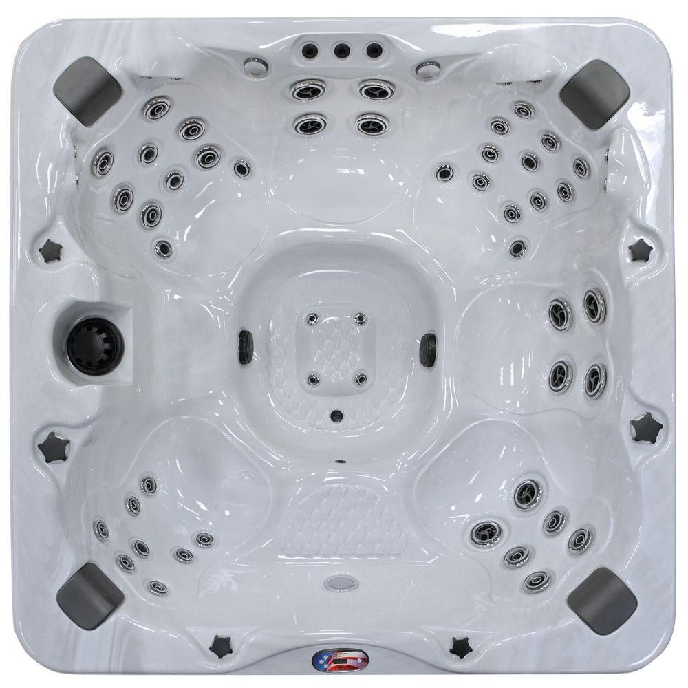 American Spas 6 Person 56 Jet Bench Spa With Bluetooth Stereo System Subwoofer And Backlit Led Waterfall Spa Hot Tubs Hot Tub Outdoor Hot Tub