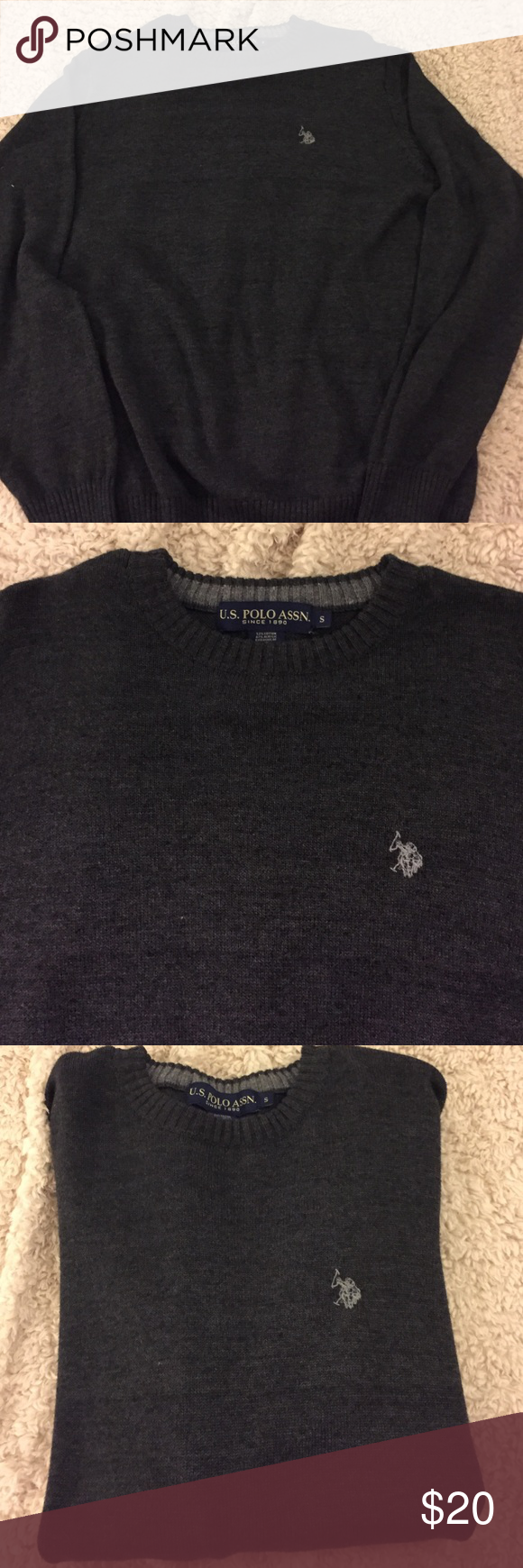 US Polo Assoc Men's sweater. Grey crew neck. Never worn. Sweaters Crewneck