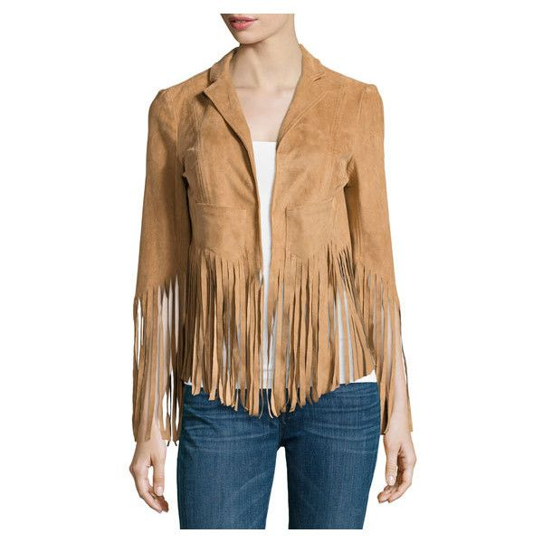 c3c3e5f47 Vakko Faux Suede Fringe Bolero Jacket, Camel ($129) ❤ liked on ...