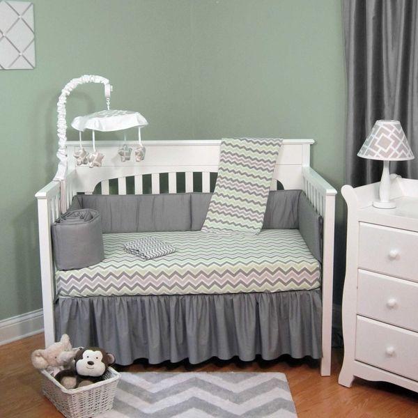 Green and Grey Chevron Five-piece Baby Crib Bedding Set ...