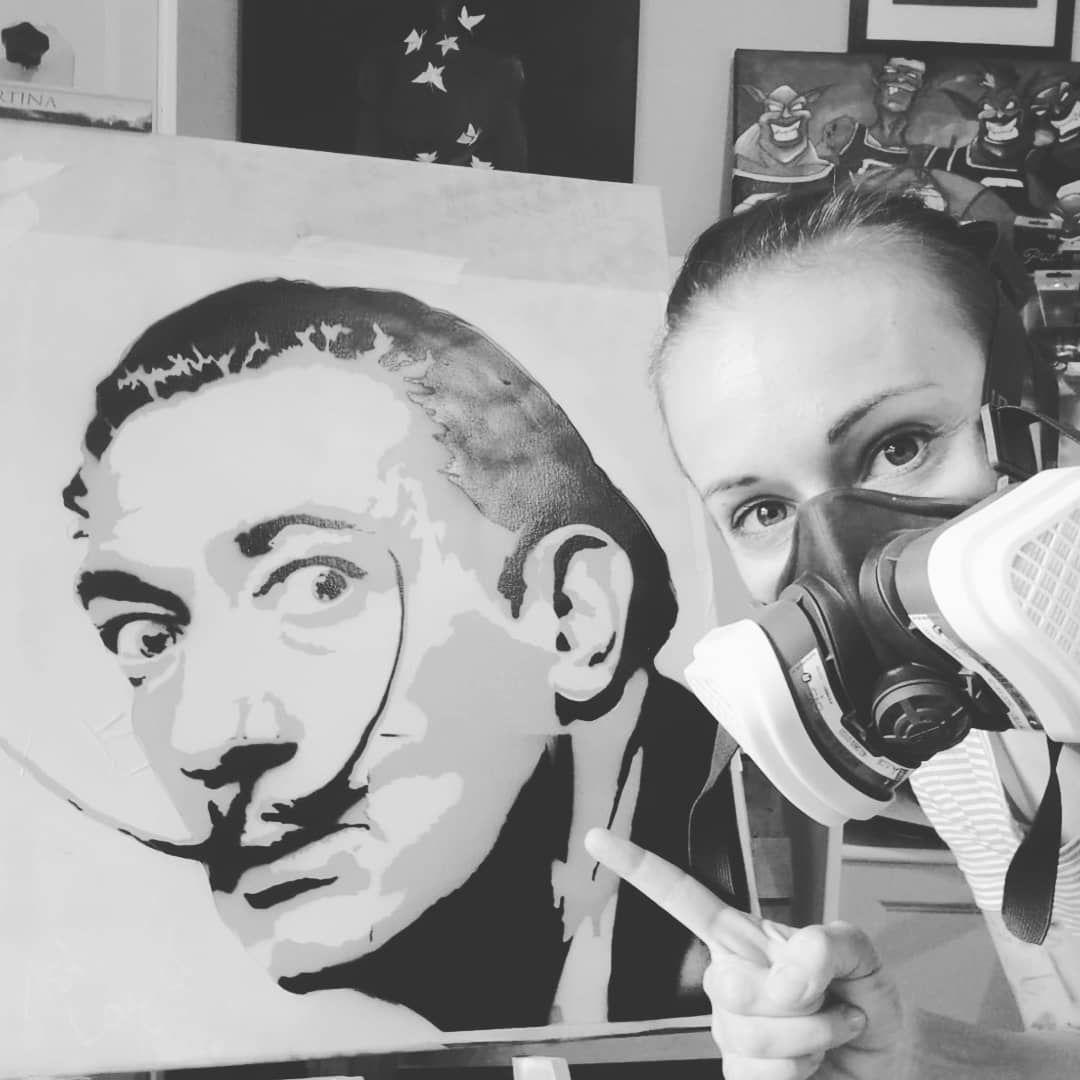 Maestro And On The Left Salvador Dali Stencil Spray On Canvas In Progress Art Artwork Artoninstagram Artistsoninstagr Art Artwork Stencil Art