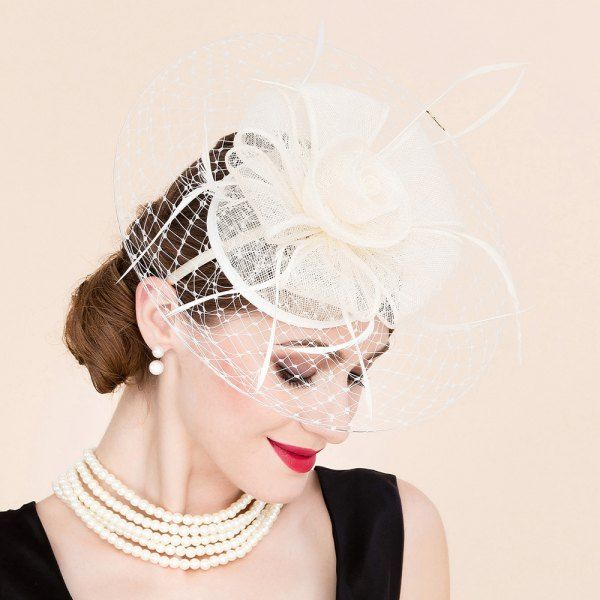4d923c9072117  18.10 Elegant Flower Feather Fascinator Wedding Tea Party Bridal Veil  Cocktails…