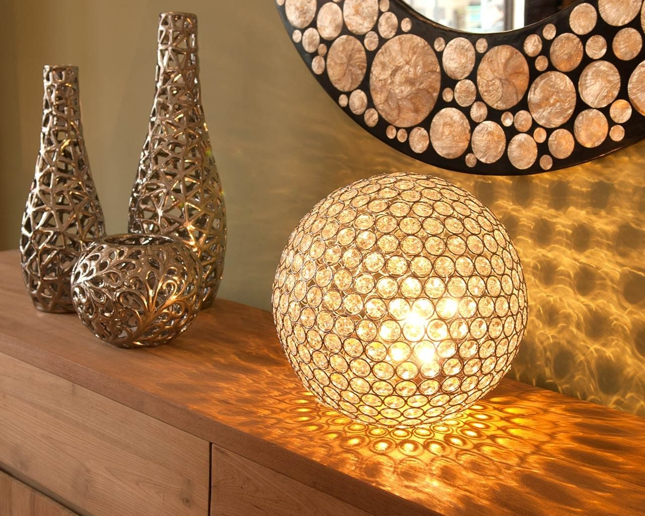 This Nickel Moroccan Inspired Table Lamp Has Been Hand Hammered