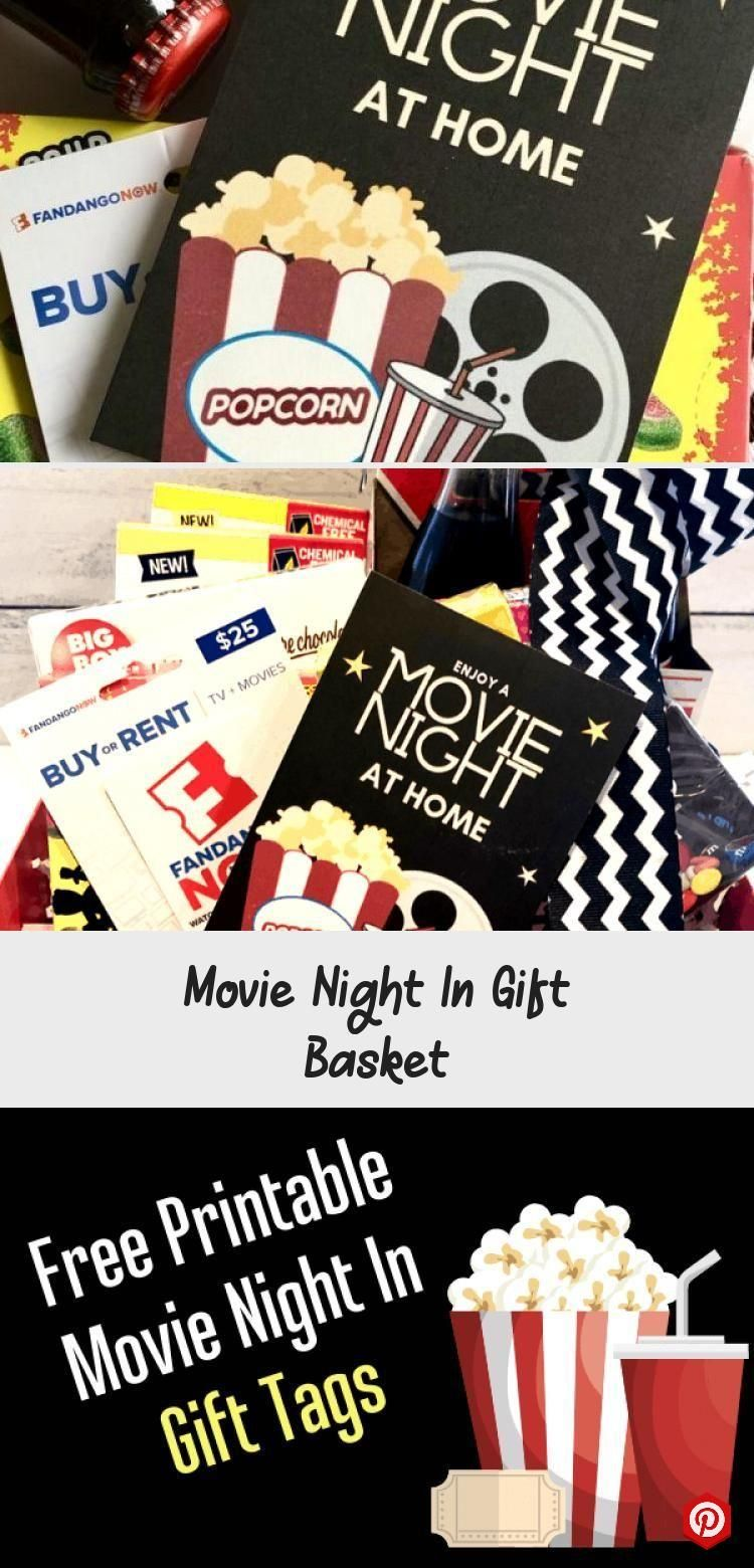 Movie Night In Gift Basket #boyfriendgiftbasket Movie Night In Gift Basket with chevron black ribbo