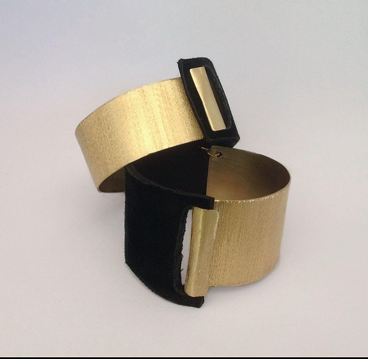 Brass Bracelet and leather- handmade in Italy- My ZiZi Jewels
