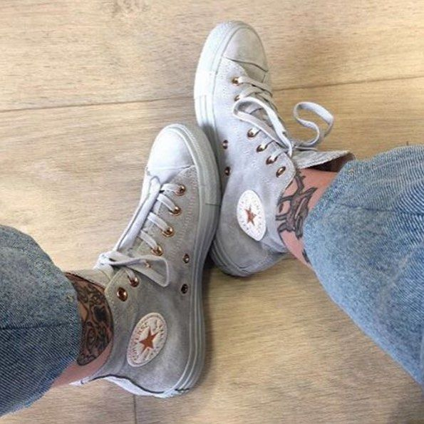 e58f92f7629e RG   keera h Restock Alert!✨ Shop our  converse  exclusive All Star Hi  Leather in ash grey rose gold.  Shop straight from our bio.