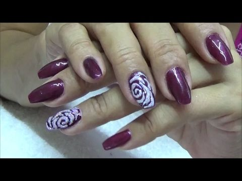 Uñas Color Vino, Facil y Rapido ¡¡  Rosa en relieve !!