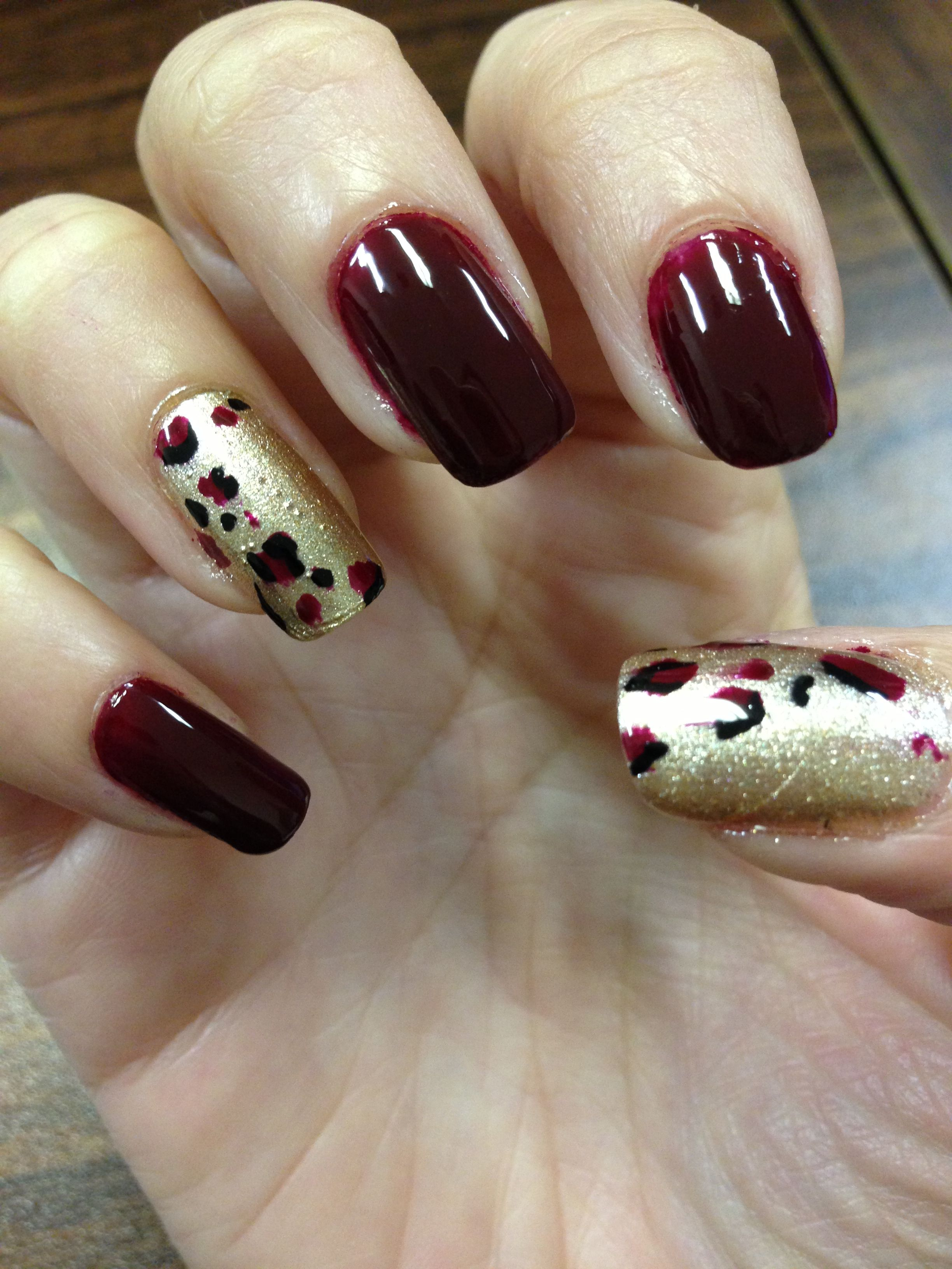 Burgundy And Gold Nail Designs With Leopard Print Nails