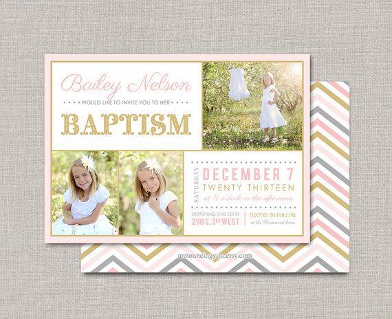 LDS Baptism Invitation Bailey por announcingyou en Etsy | Bautizo ...