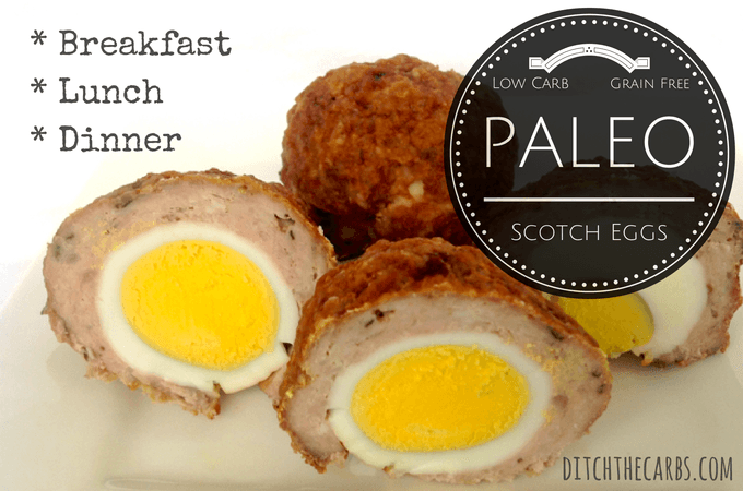Easy Paleo Scotch Eggs are fantastic for breakfast, lunch, dinner or a snack. ZERO carbs. Little powerhouse of nutrition. Portable and tasty. | http://www.ditchthecarbs.com/2014/07/30/paleo-scotch-eggs/ | #sugarfree #lowcarb #lchf #banting #wheatfree #glutenfree #jerf #wholefood #realfood #cleanfood
