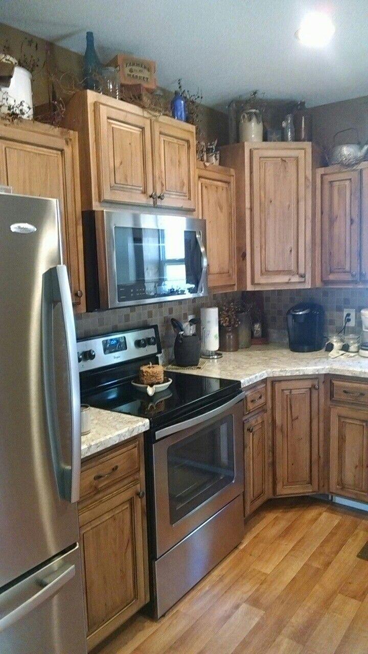35 Fresh White Kitchen Cabinets Ideas To Brighten Your: Rustic Knotty Alder With Black Glaze Kitchen Cabinets