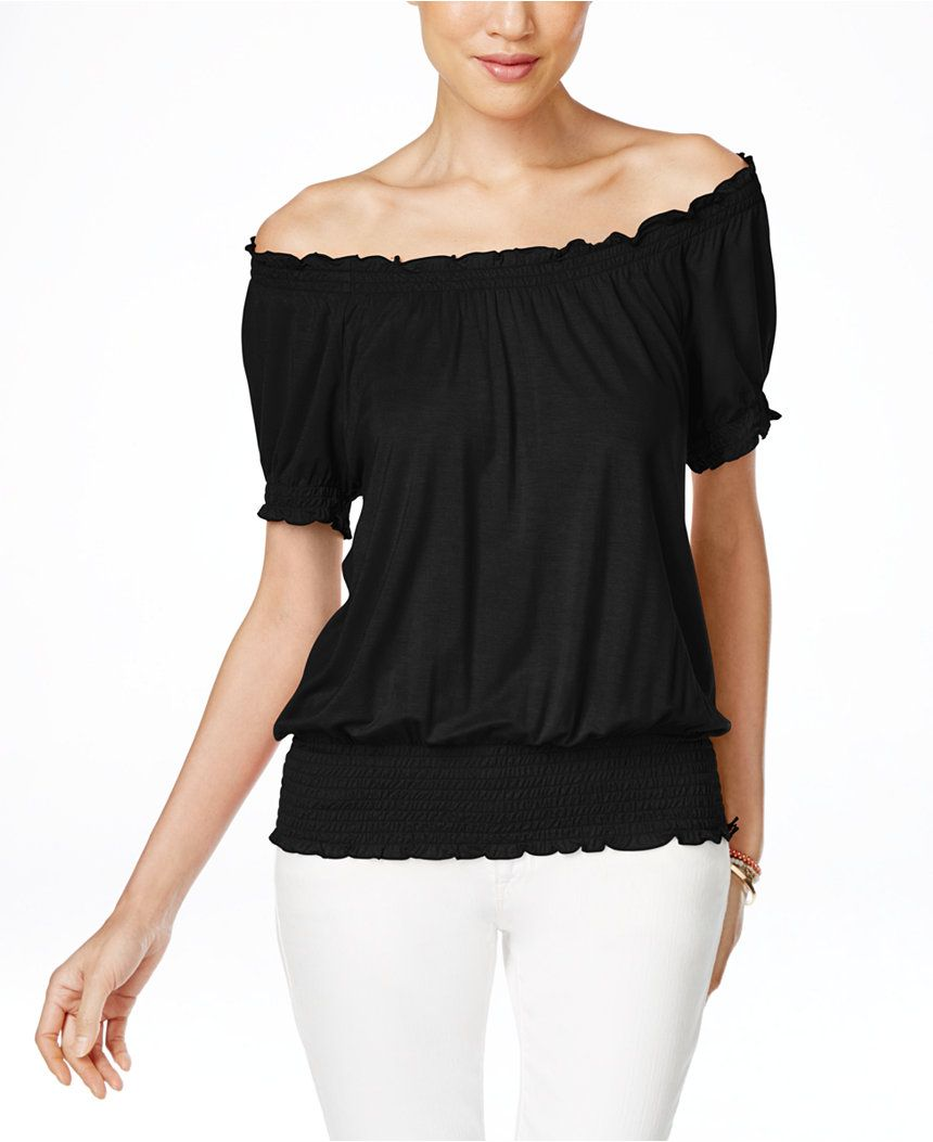 09b1039ee37334 INC International Concepts Off-The-Shoulder Peasant Blouse, Only at Macy's  - Tops - Women - Macy's