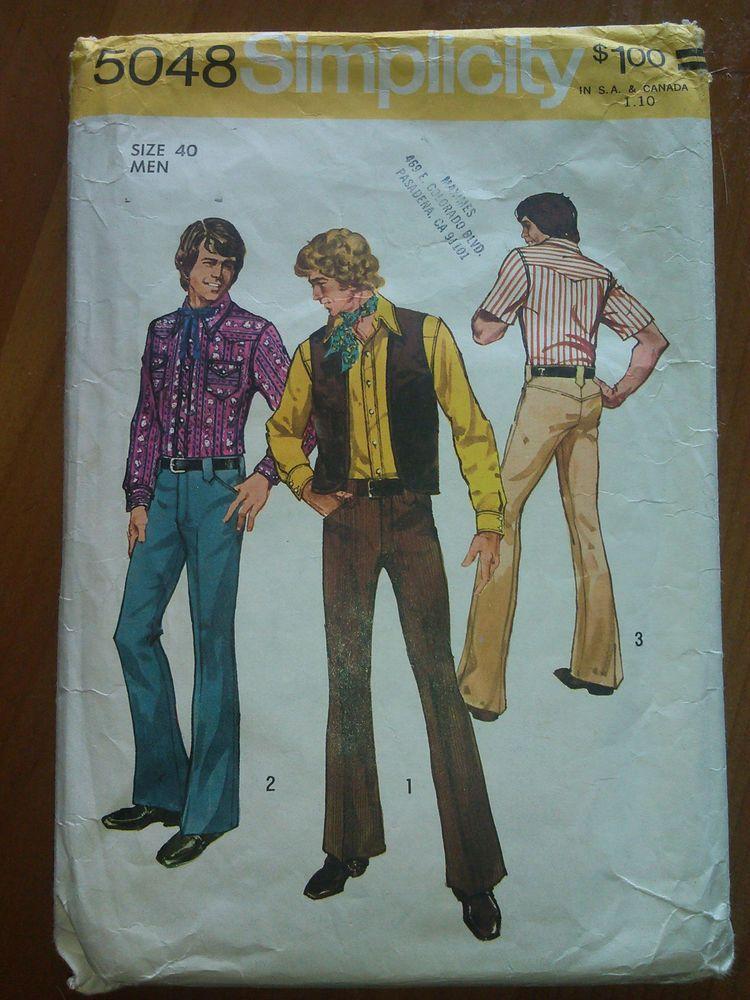 Vintage 1970's Simplicity Pattern 5048 Men's Shirt, Vest and Pants