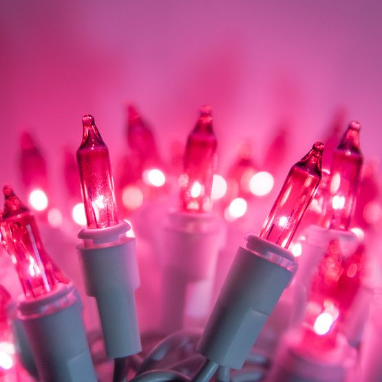 100 pink christmas tree mini lights 25 spacing white wire