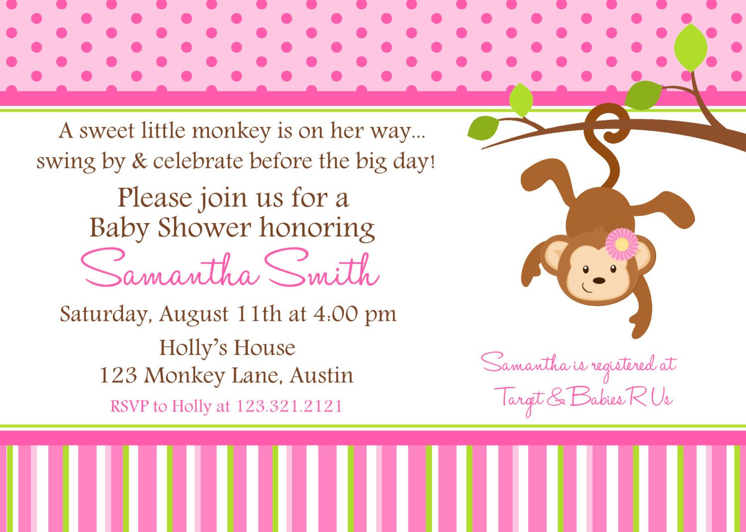 Monkey Baby Shower Printable Invitation, Personalized Pink Monkey Girl  Shower Invite, Monkey Baby Shower