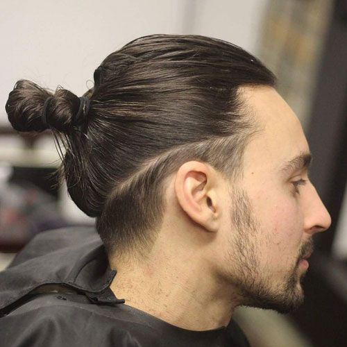 Low Fade with Man Bun and Stubble Beard