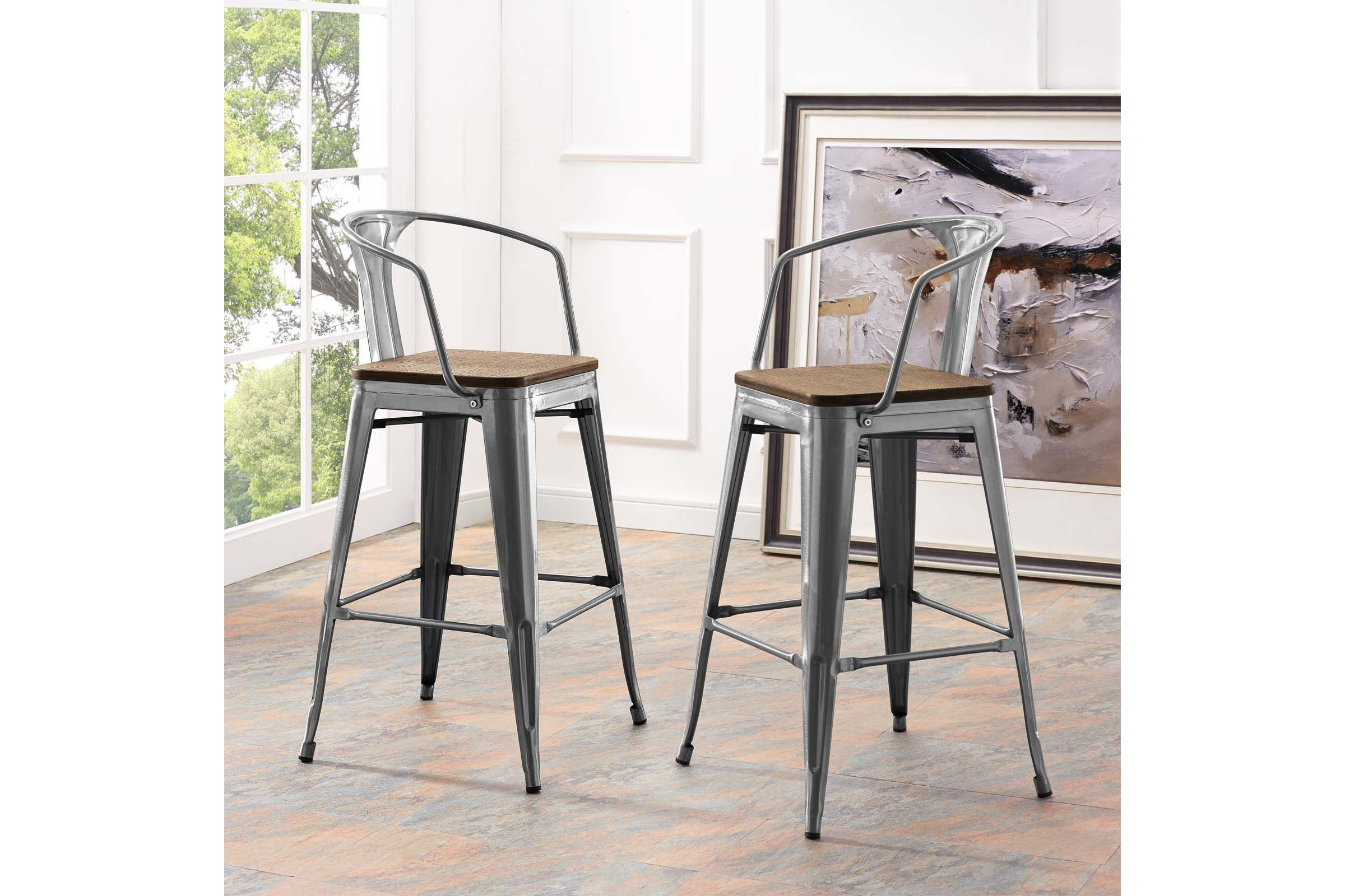 Promenade Low Back Bar Stool In Gunmetal By Modway In 2020 Bar
