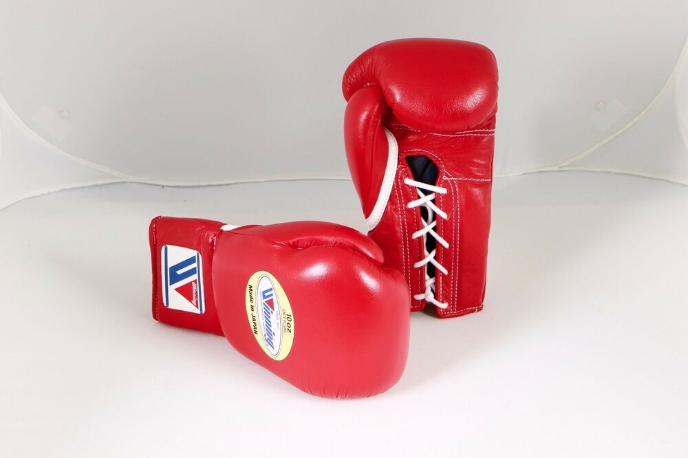 Winning Boxing Gloves (RED) 10oz Lace Up Pro Type MS-300