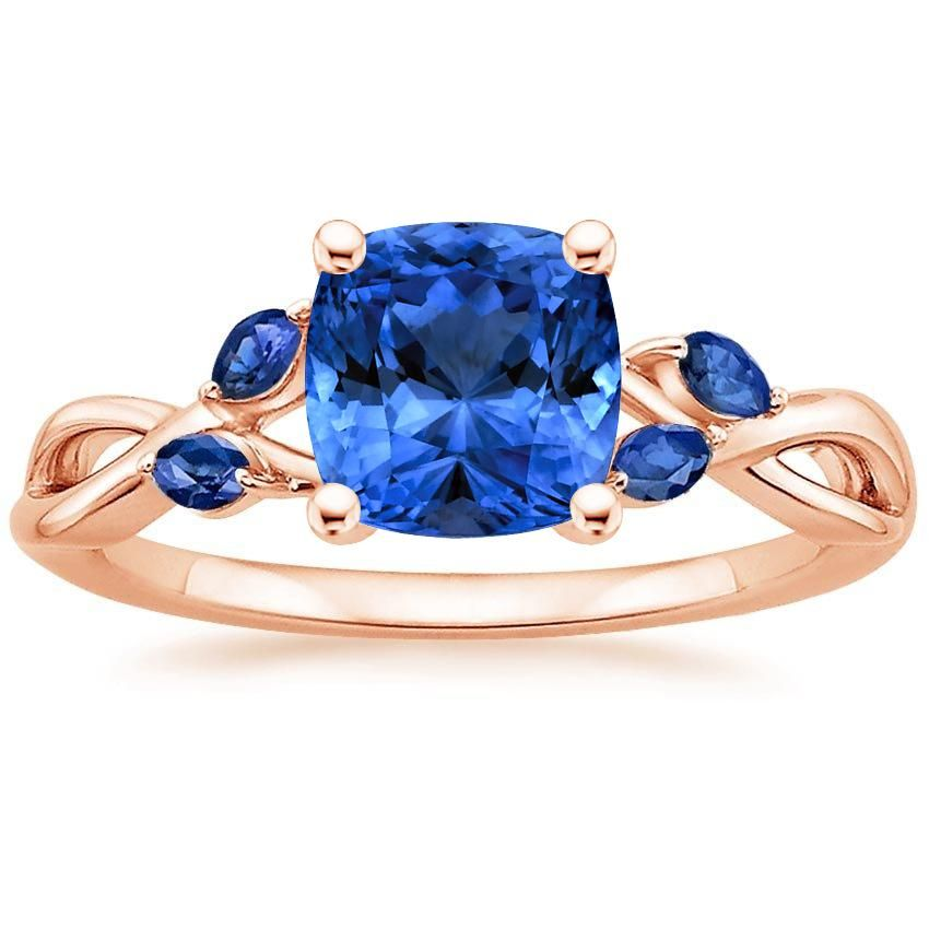 750ff58af2841d Blue Sapphire Willow With Sapphire Accents Engagement Ring - 14K Rose Gold