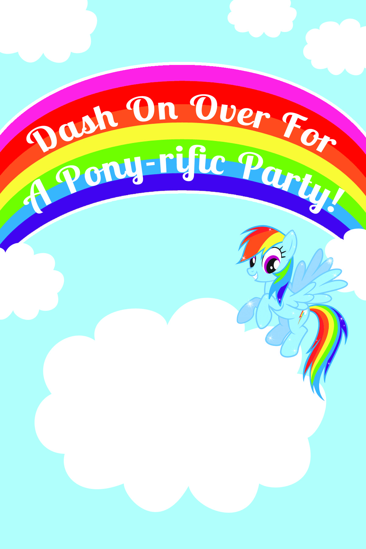 My little pony rainbow dash birthday party printables for Rainbow dash cake template