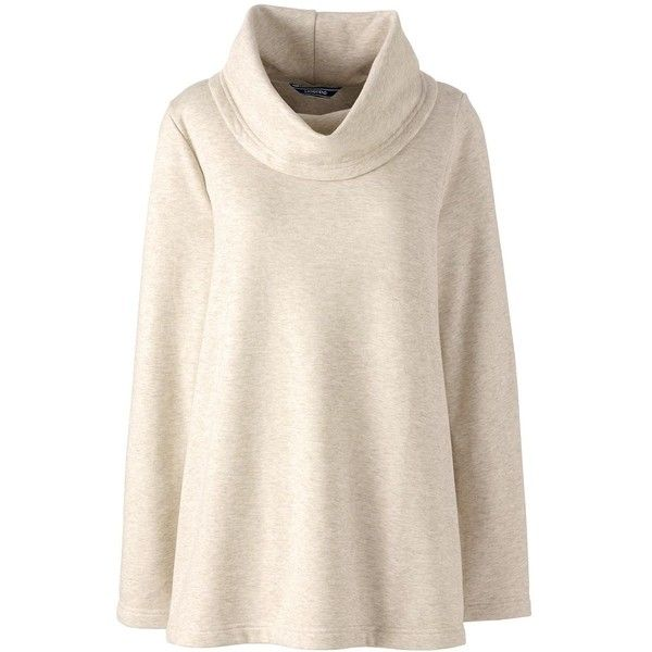 Lands' End Women's Petite Cowl Neck Fleece Pullover ($49) ❤ liked ...