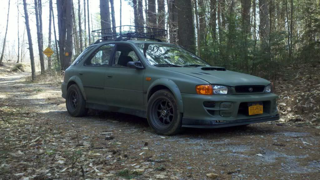 1998 Subaru Impreza Wagon. The army green looks so cool on