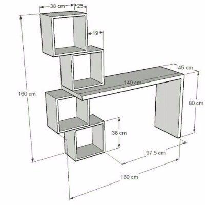 Escritorio moderno minimalista mesa para pc con cubos for Muebles oficina minimalista
