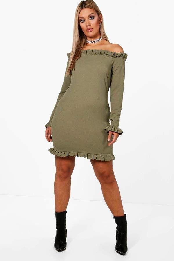 boohoo Plus Terri Off Shoulder Ruffle Shift Dress #dresses ...