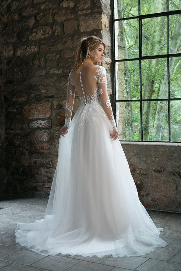 Long sleeve a-line wedding dress with illusion lace sleeves and sheer illusion b... 10