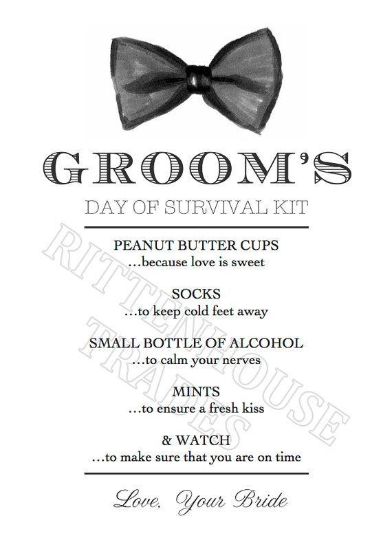 custom listing andrew s wedding day survival kit printable card