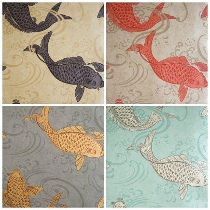 Osborne and little wallcoverings animals www for Koi wallpaper for walls