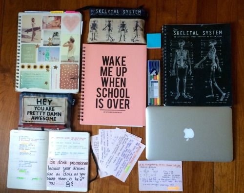 """aariandthediamonds: Favorite school supplies! Featuring; • Typo 5 subject notebooks X 3 • Typo pencil cases X 2 • Staedtler highlighter set • My life, my bae, my MacBook Air 11"""" • cue cards! • my lovely minimalistic planner. Today's motto: NO PROCASTINATION """"Don't watch the clock, do what it's doing, keep going""""."""