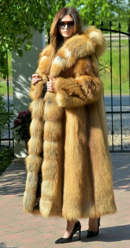 3f347cfec9386 Full length hooded red fox fur coat More