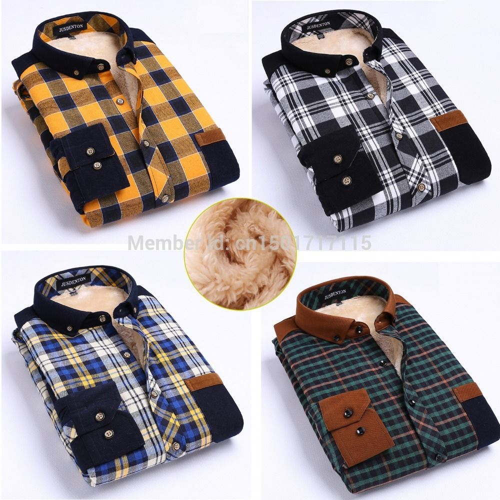 Flannel jacket with wool lining  Men Cotton Shirts Dress Yellow Blue Stripe Plaid Thermal Flannel