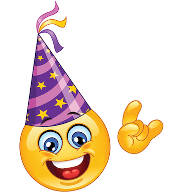 Emoticon With A Conical Party Hat With Streamers Or Confetti Bursting Out Of One End Emoticon Emoji Party Emoji Images