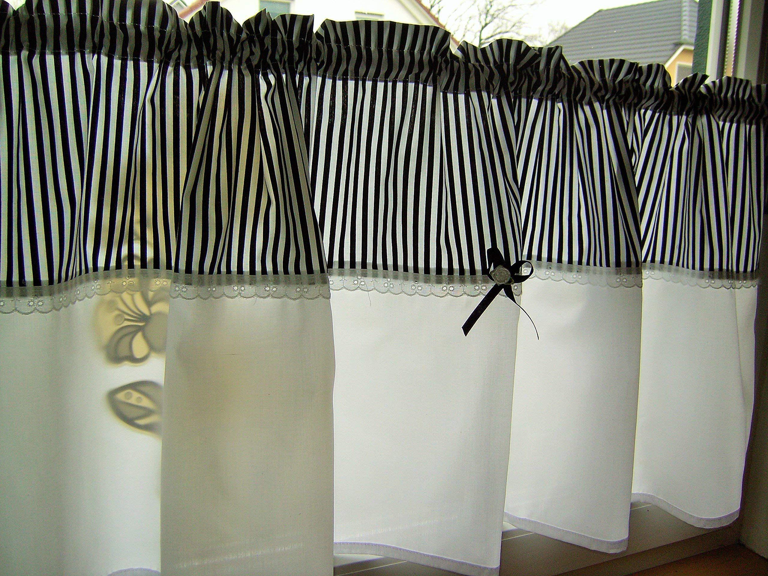 Scheibengardine Bistrogardine Streifen Schwarz Oder Farbwahl Baumwolle Handmade 1 30 X 45cm1 In 2020 Home Decor Home Curtains