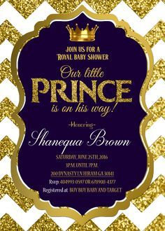 Royal Baby shower invitation Royal prince Gold baby Pinterest