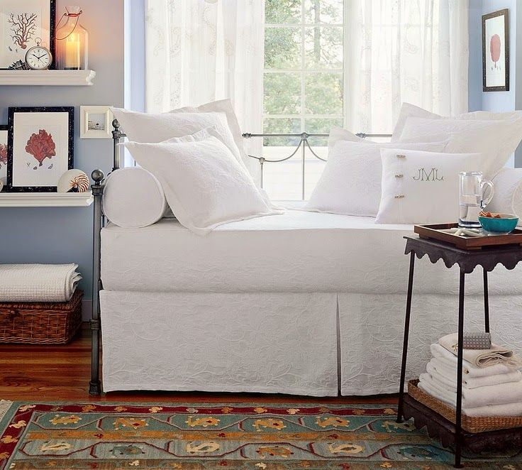 The Pottery Barn Matelasse Daybed Bedding Bed Skirt Bolsters