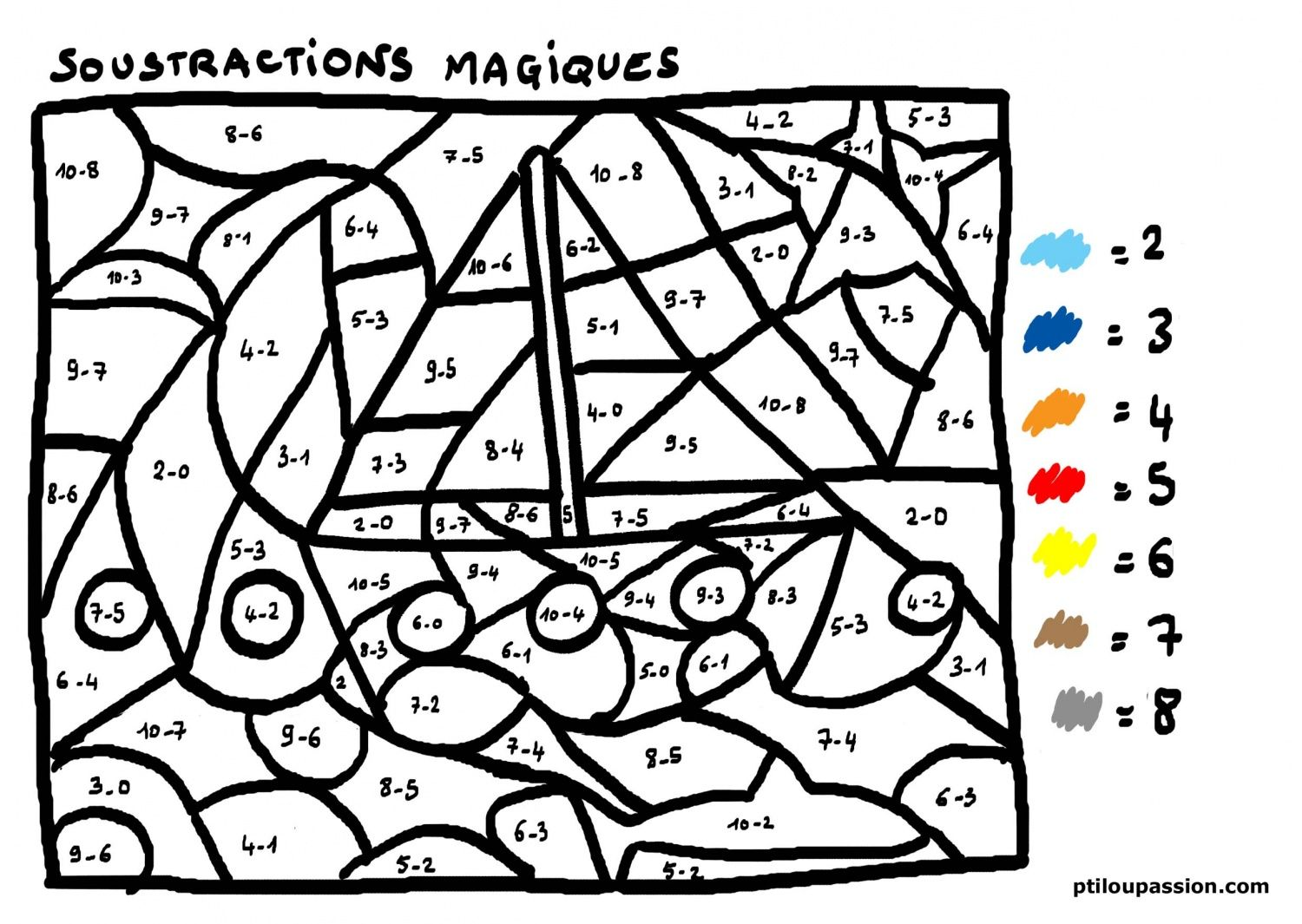 Coloriage Magique Soustraction Maths 4h Pinterest