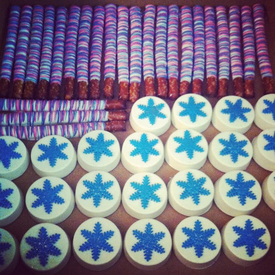 Frozen inspired pretzels and chocolate covered Oreos...