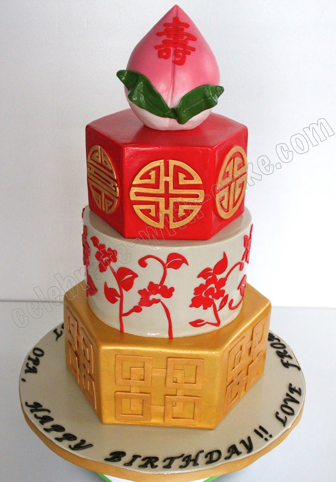 Pleasing Longevity Cake New Design 3 Tier Cake Chinese Cake Fondant Cakes Birthday Cards Printable Nowaargucafe Filternl