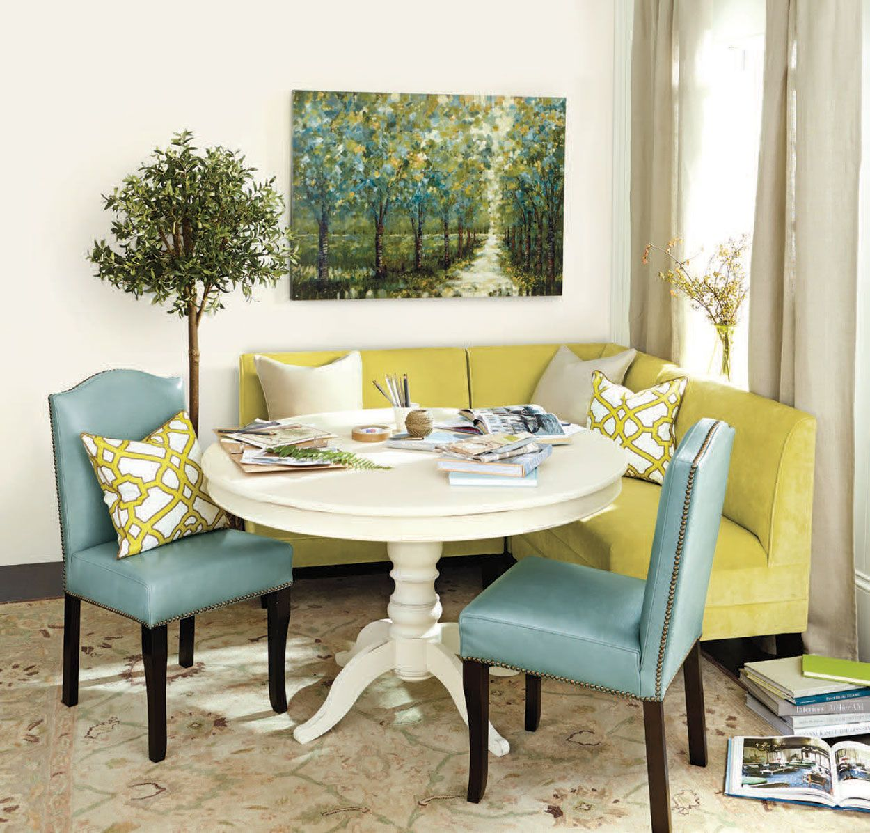 A Chartreuse Banquette And Blue Leather Chairs Turn A Small Corner Into A  Cozy Space To