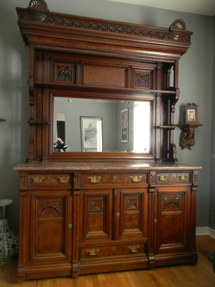 Stunning Massive Walnut Victorian Eastlake Sideboard With
