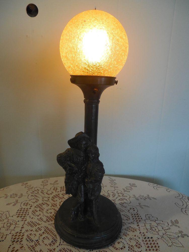antique art deco pot metal figural table lamp w crackle glass shade art deco all types of. Black Bedroom Furniture Sets. Home Design Ideas